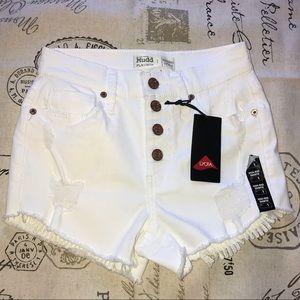 Mudd - White Denim High Rise Jean Shorts